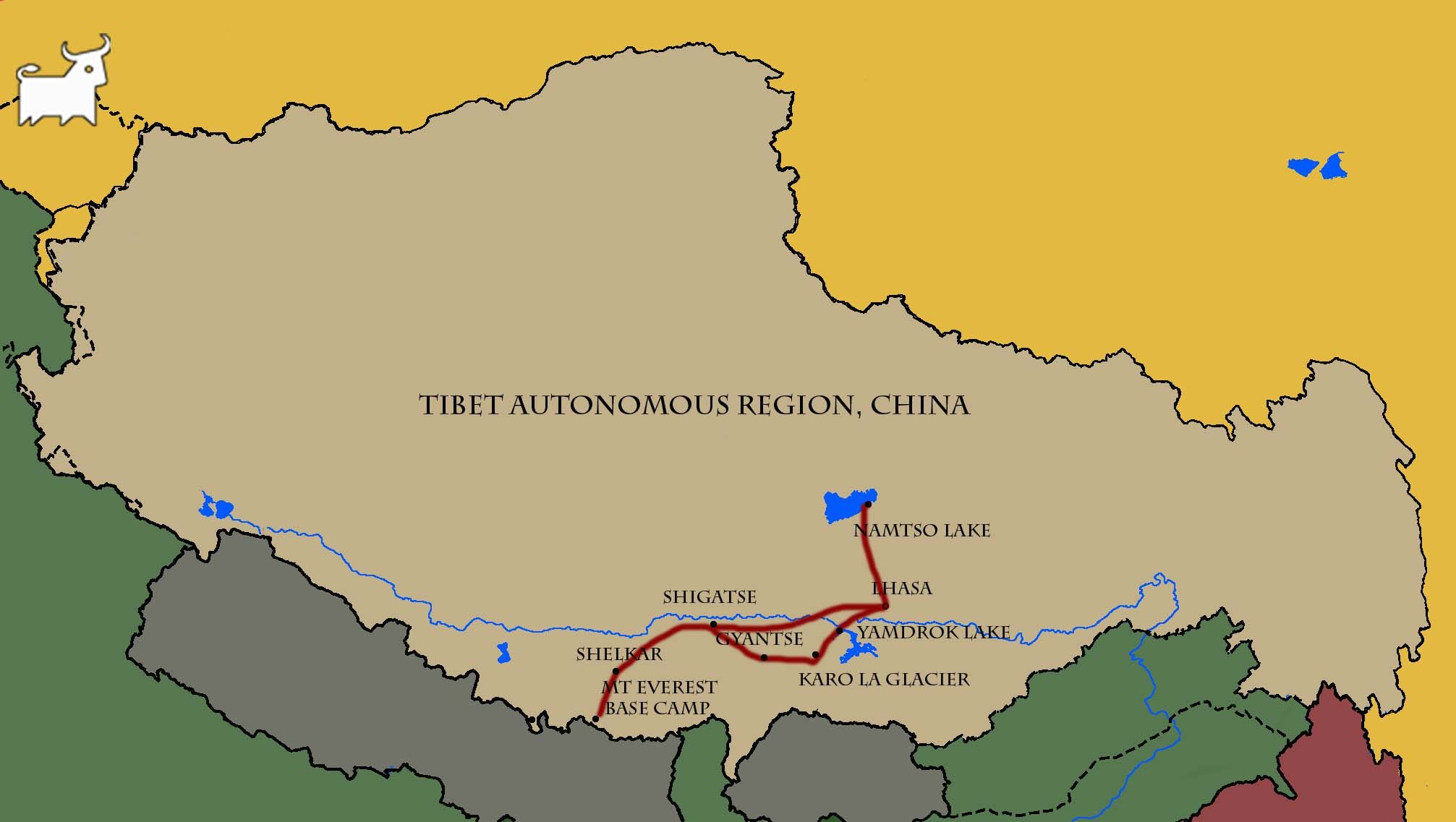 Lhasa to Everest Base Camp and Namtso Lake 9 Days map
