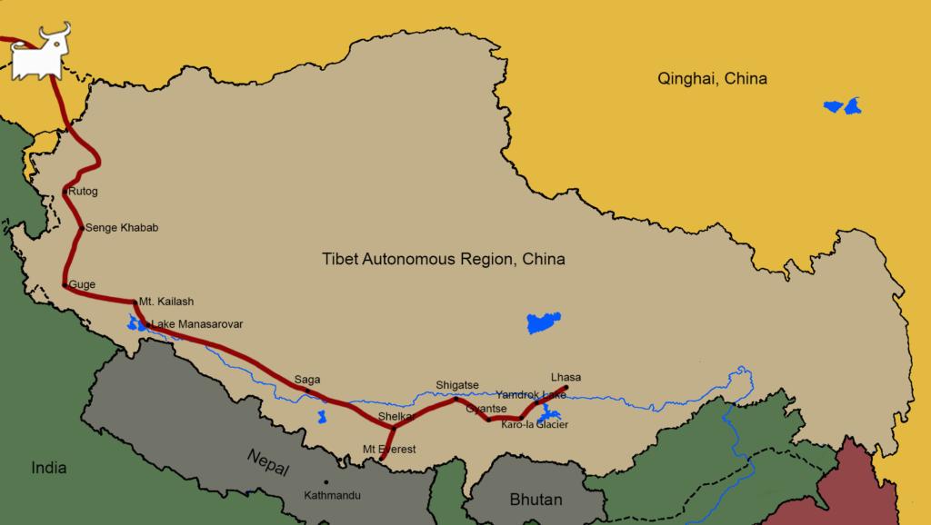 Tibet to Kashgar tour map