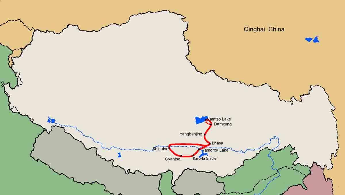 Nyenchen Tanglha Traverse Trekking Tour map