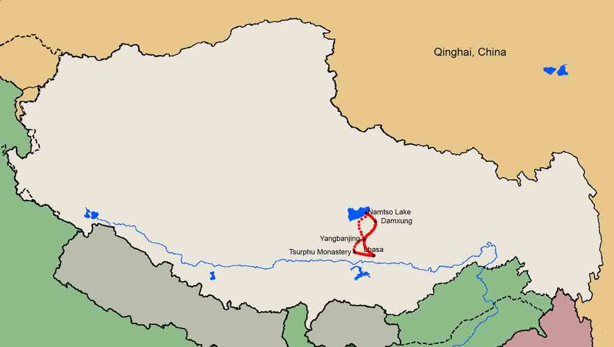 Tsurphu Monastery to Namtso lake trekking tour map