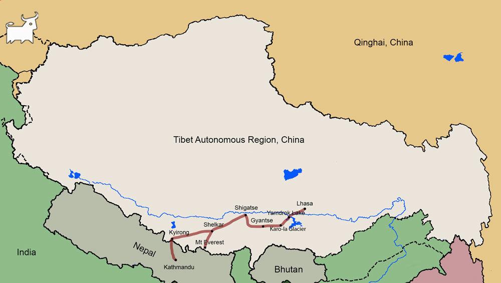 Lhasa to Kathmandu Travel map